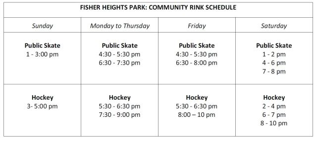 Rink hours table